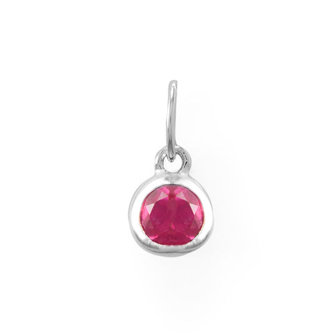 Round CZ July Birthstone Charm