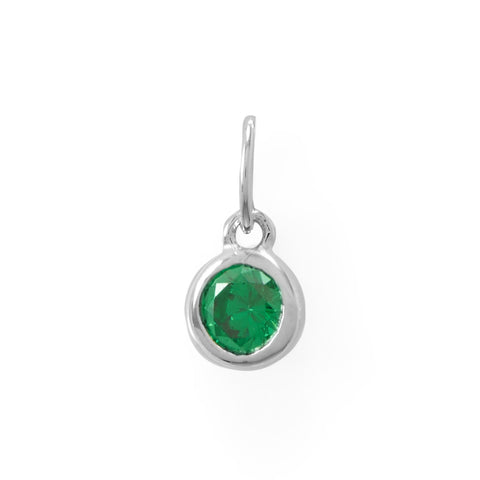 Round CZ May Birthstone Charm
