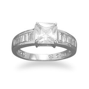 Rhodium Plated 6.5mm Square CZ Ring with Graduated Baguette Sides