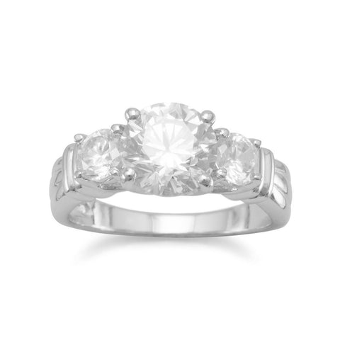 Rhodium Plated Triple CZ Ring