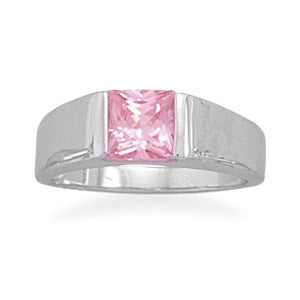 Rhodium Plated 6mm Square Pink CZ Ring