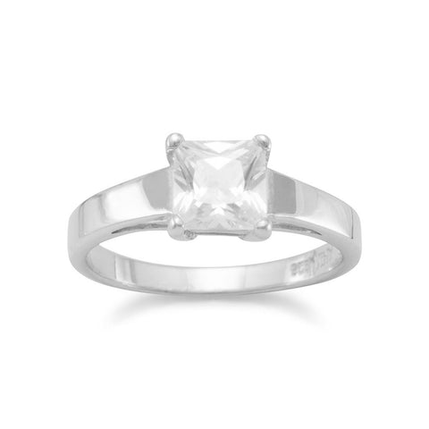 Rhodium Plated Polished Band Ring with 6mm Square CZ