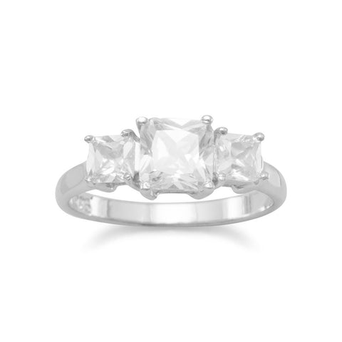 Rhodium Plated 3 Square CZ Ring