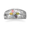 Rhodium Plated Multicolor CZ Flower Filigree Ring