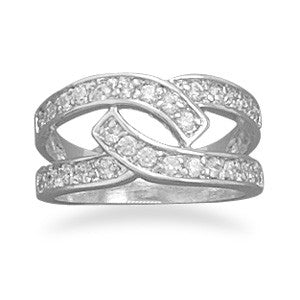 Rhodium Plated CZ Double Overlap Ring