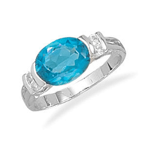 Rhodium Plated Blue Oval CZ Ring