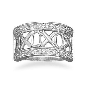 "Rhodium Plated ""XOXO""  with CZ Edge Ring"