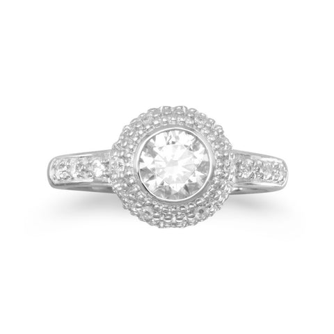 Rhodium Plated Ring with 6mm Round CZ and Pave Sides