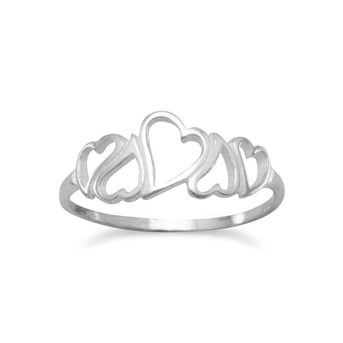 5 Open Hearts Ring