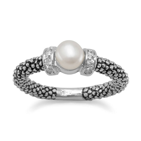 Rhodium Plated Oxidized Band with 6mm Cultured Freshwater Pearl