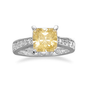 Rhodium Plated Yellow and Clear CZ Ring