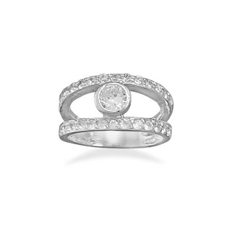 Rhodium Plated 2 Row CZ Ring with 6mm Bezel CZ Center