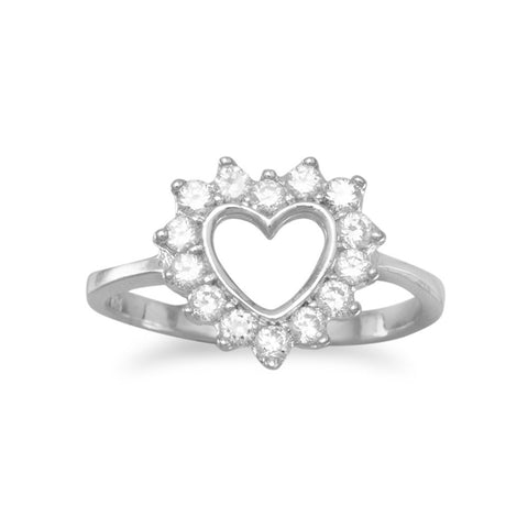 Rhodium Plated Cut Out CZ Heart Ring
