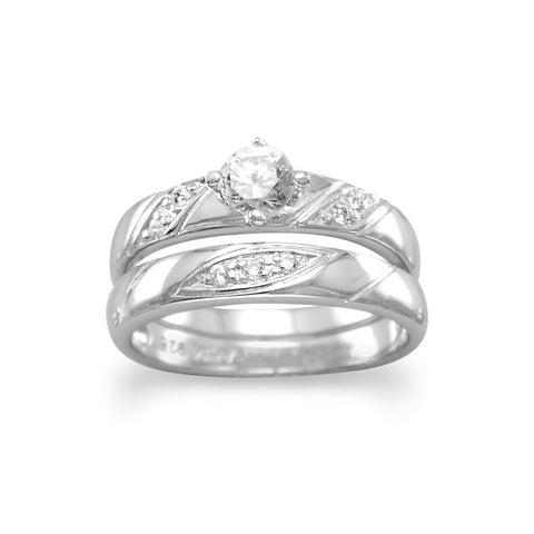 Rhodium Plated 2 Ring Set with 4.5mm CZ and Diagonal Design Band
