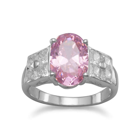 Rhodium Plated Ring with Clear and Pink CZs