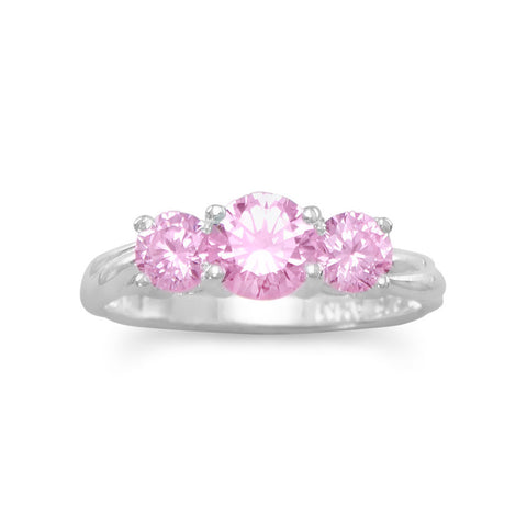 Ring with 3 Pink CZs