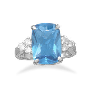 Rhodium Plated Blue CZ Ring