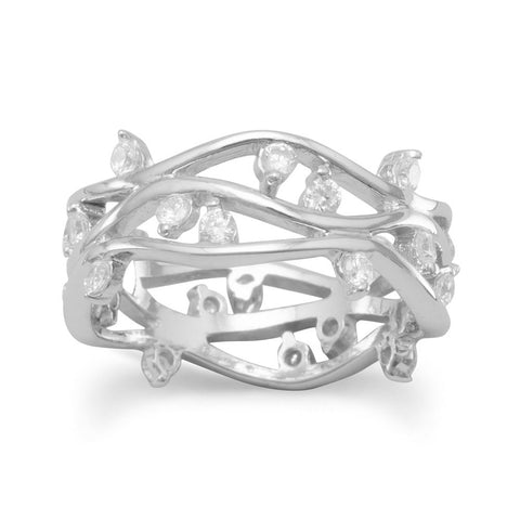 Rhodium Plated Open Band CZ Ring