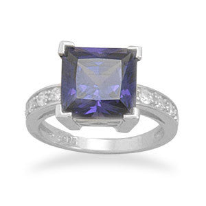 Rhodium Plated Square Synthetic Tanzanite and CZ Ring