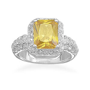 Yellow Rectangle CZ and Crystal Edge Ring
