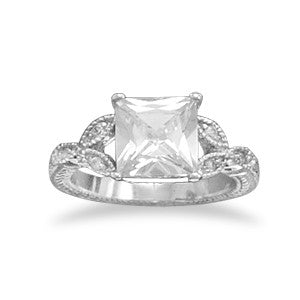 Rhodium Plated Square CZ Ring
