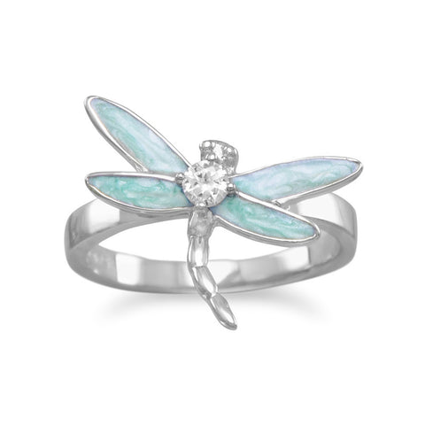 Rhodium Plated Enamel CZ Dragonfly Ring