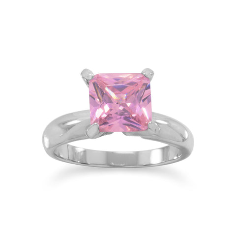 Rhodium Plated Square Pink CZ Ring