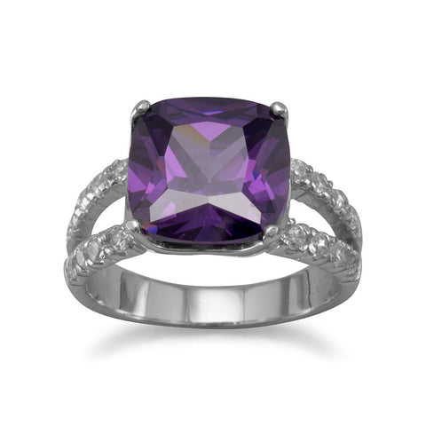 Rhodium Plated Purple CZ Ring
