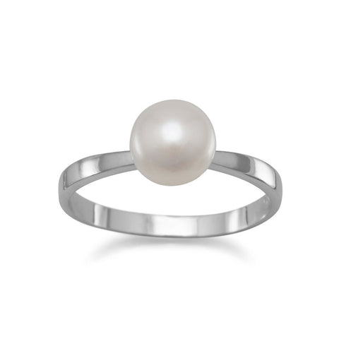 Rhodium Plated Cultured Freshwater Pearl Ring