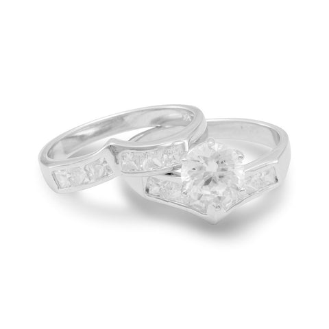 Rhodium Plated Two Piece CZ Ring Set with 6.8mm Center CZ