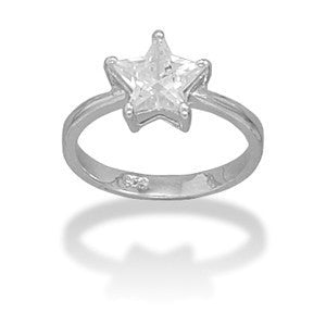 Rhodium Plated CZ Star Ring