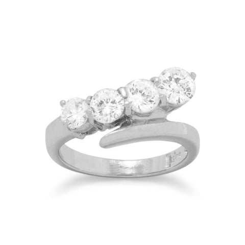Rhodium Plated Graduated CZ Ring