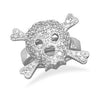Rhodium Plated CZ Skull Ring