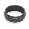 Lined Black Stainless Steel Men's Ring