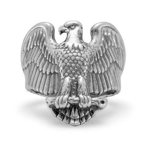 Large Oxidized Eagle Ring