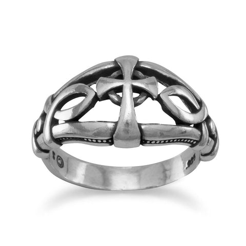 Ichthys and Cross Design Oxidized Ring