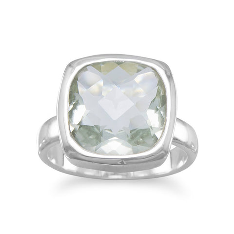 Faceted Prasiolite Ring