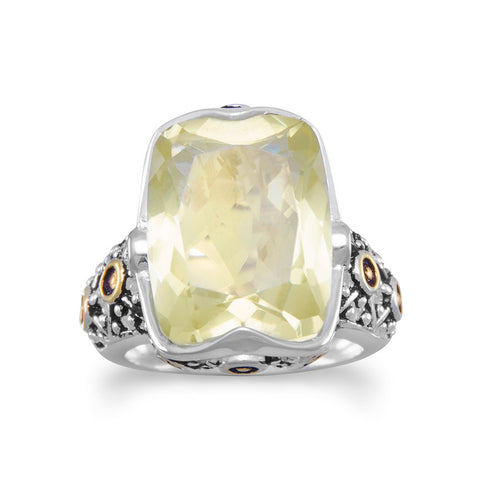 Large Faceted Lemon Quartz Ring
