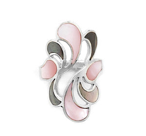 Grey and Pink Shell Inlay Ring