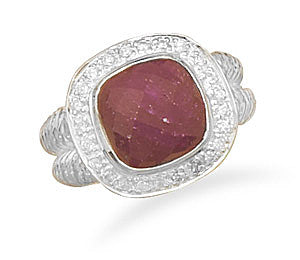 Rough-Cut Ruby Ring with CZ Edge