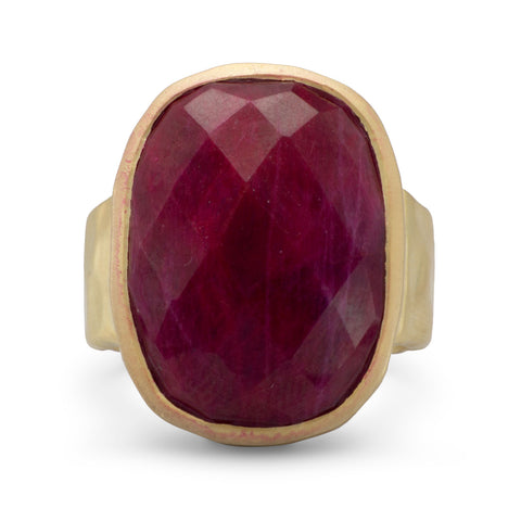 14 Karat Gold Plated Corundum Ring