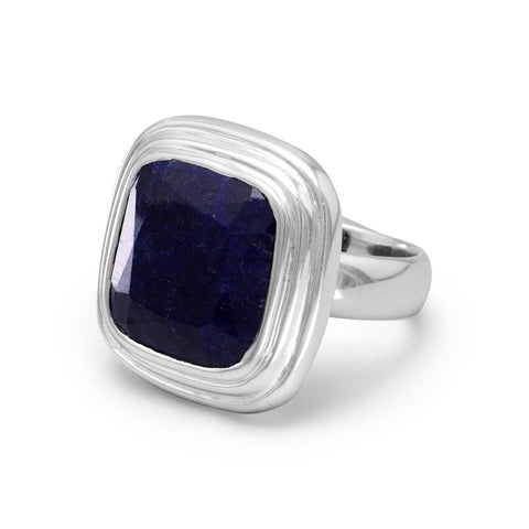 Square Faceted Rough-Cut Sapphire Ring