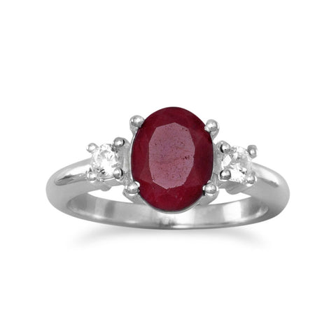 Rough-Cut Ruby and CZ Ring