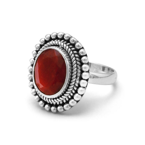 Oxidized Faceted Rough-Cut Ruby Ring