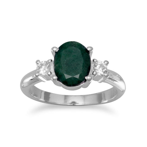 Rough-Cut Emerald and CZ Ring