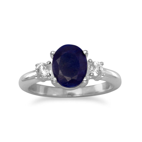 Rough-Cut Sapphire and CZ Ring