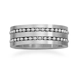Stainless Steel Ring with Double Bead Row