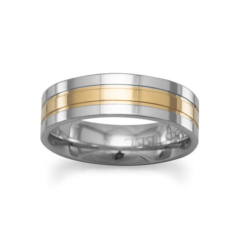 Stainless Steel and 14 Karat Gold Plated Ring
