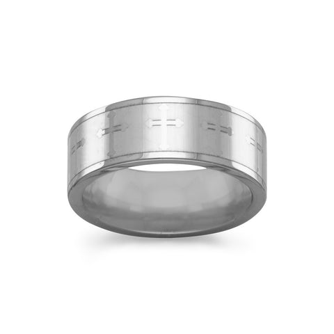 Tungsten Carbide Ring with Cross Design
