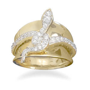 14 Karat Gold Plated Sterling Silver CZ Snake Ring